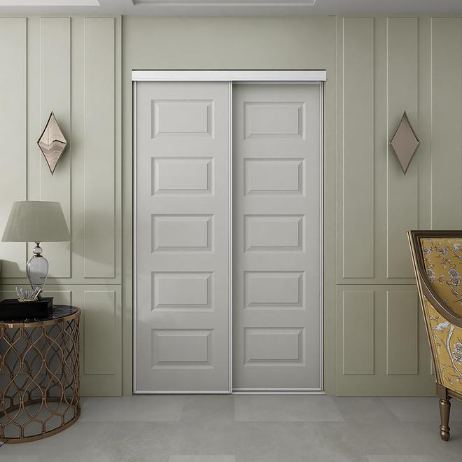 Colonial Elegance Sliding Door - 60-in W x 80 1/2-in H - 5-Panel - Primed White
