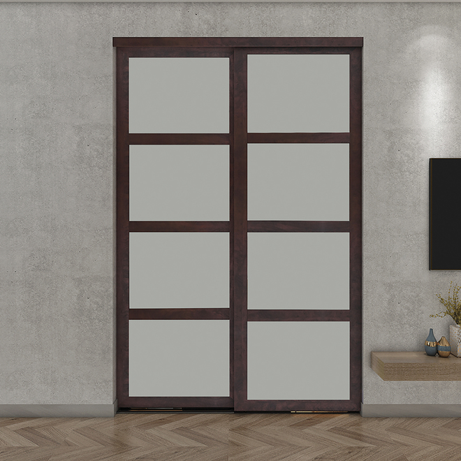 Colonial Elegance Sliding Door - Chocolate - Frosted Glass - Interior - 72-in W x 80 1/2-in H