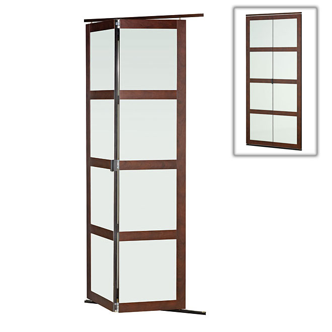 """Colonial Elegance """"Fusion Plus"""" Frosted Glass Folding Door - 30 in. x 80 1/2 in. - Chocolate"""