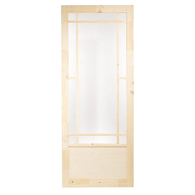 Colonial Elegance Prairie Screen Door - 33-in W x 82-in H - Rustic Pine - Fibreglass Screen