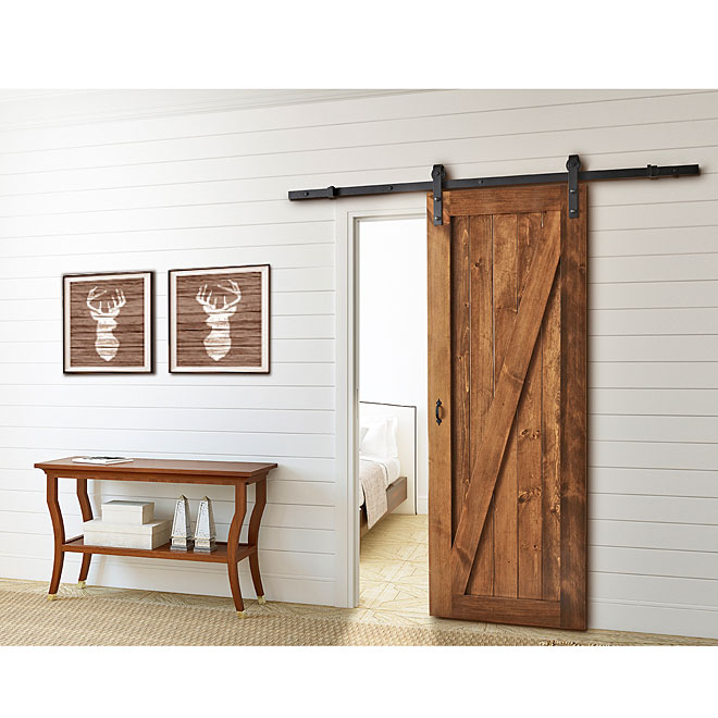 colonial elegance rail pour porte coulissante barn noir sb78rr bl rona. Black Bedroom Furniture Sets. Home Design Ideas