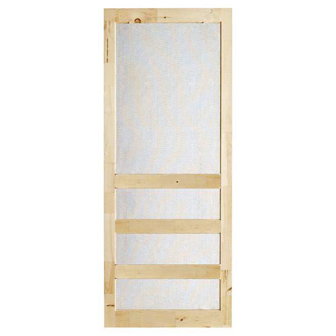 Porte moustiquaire Zen de Colonial Elegance, toile en fibre de verre, 32 po l. x 82 po h., pin rustique naturel