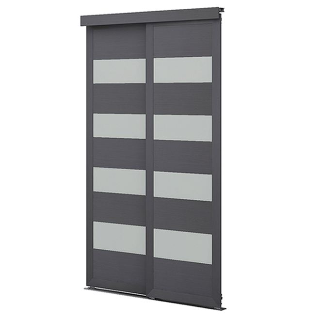 "Colonial Elegance ""4-Lite"" Frosted Glass Sliding Door - 48 in. x 80 1/2 in. - Steel Grey"