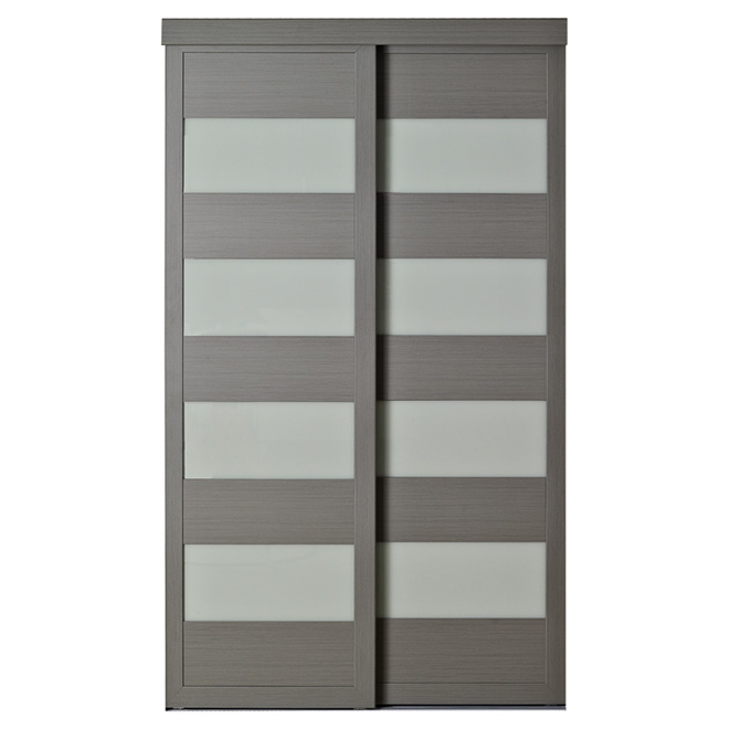 "Colonial Elegance ""4-Lite"" Frosted Glass Sliding Door - 60 in. x 80 1/2 in. - Steel Grey"