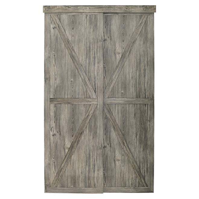 "Colonial Elegance ""Countryside"" Sliding Door - 60 in. x 80 1/2 in. - Grey Antique Wood"