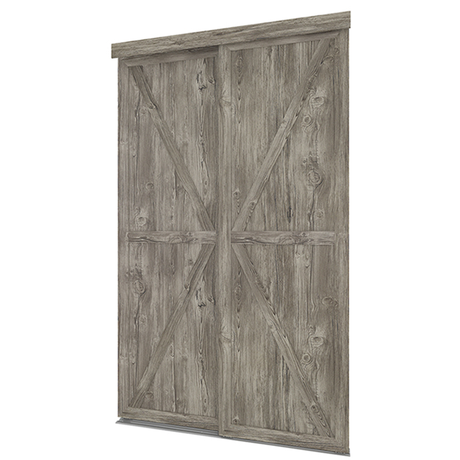 Colonial Elegance Countryside Sliding Door - Grey Antique Wood Finish - MDF Panels - 60-in W x 80 1/2-in L