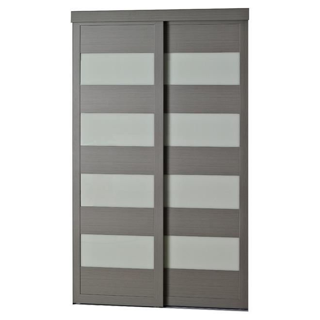 Porte coulissante en verre givré 4-Lite de Colonial Elegance, 72 po x 80 1/2 po, gris acier