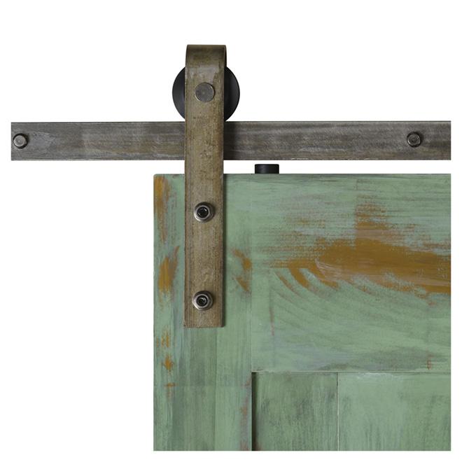 """Colonial Elegance """"Barn"""" Sliding Door Rail - 78 in. - Natural Steel"""