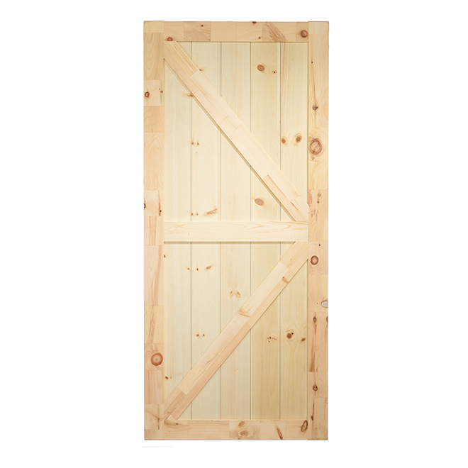 Barn Style Door And Rail Kit 37 X 84 Natural Rona