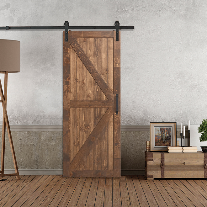 Colonial Elegance Barn Style Door And Rail Kit 37 X 84 Natural