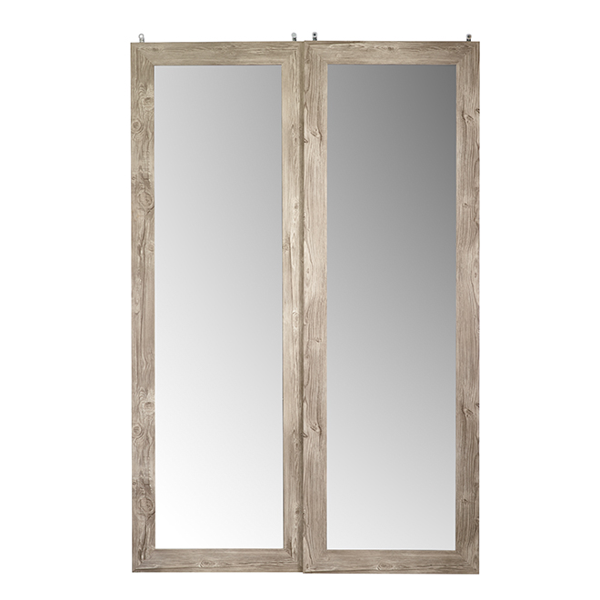 Colonial Elegance Interior Sliding Door - Frosted Glass - 60-in W x 80 1/2-in L x 3 1/2 T - Antique Grey