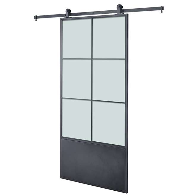 Colonial Elegance Barn Door and rail system kit - 37 in. x 84 in. - Black