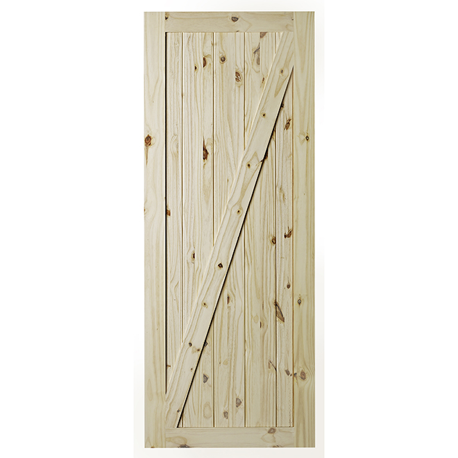Colonial Elegance Chalet Barn Door for rail system - 33 in. x 84 in. - Light Pine