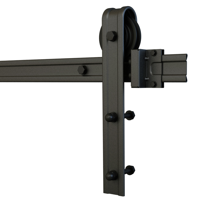Industria Sliding Barn Door Rail System - Steel - Black