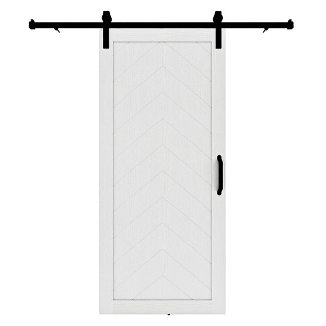 Colonial Elegance Herringbone Barn Door - Pine - 89-in - White