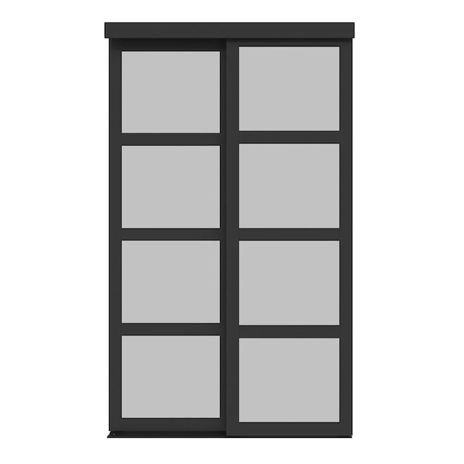 Colonial Elegance Fusion Plus Sliding Door - 48-in x 80.5-in - Wood/Glass - Black