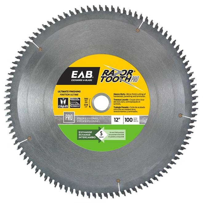 """Lame de scie au carbure EAB RazorTooth(MD), professionnel, 12"""" x 100 dents, échangeable"""