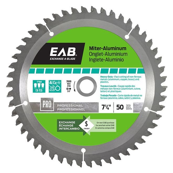 """EAB Carbide Miter Aluminum Saw Blade - 7 1/4"""" x 50 Teeth - Professional - Exchangeable"""