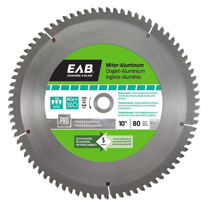 "EAB Carbide Miter Aluminum Saw Blade - 10"" x 80 Teeth - Professional - Exchangeable"