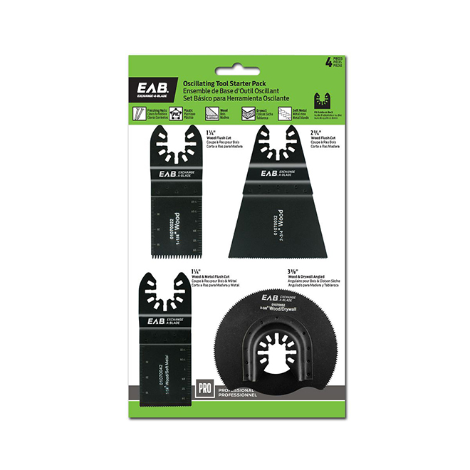 EAB Tool 4-Blade Starter Set - Professional Oscillating Accessory - Exchangeable