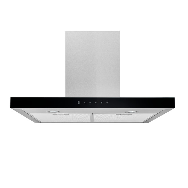 Broan T-Style Chimney Range Hood 30-in - 450 Max CFM - Stainless Steel with Black Glass