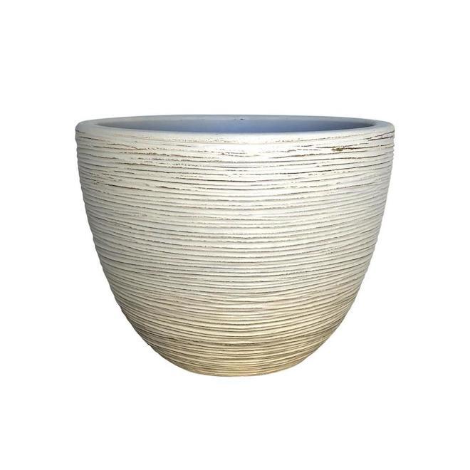 Grosfillex Indoor/Outdoor Planter - 19.72-in - Resin - White