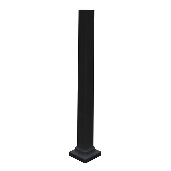 """Poteau de rampe extérieur, aluminium, 2"""" x 34 1/2"""", noir"""
