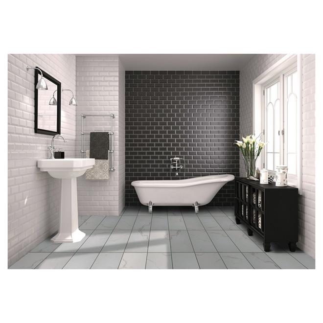 """Bianco Porcelain Floor Tile - White/Grey - 12"""" x 24"""""""