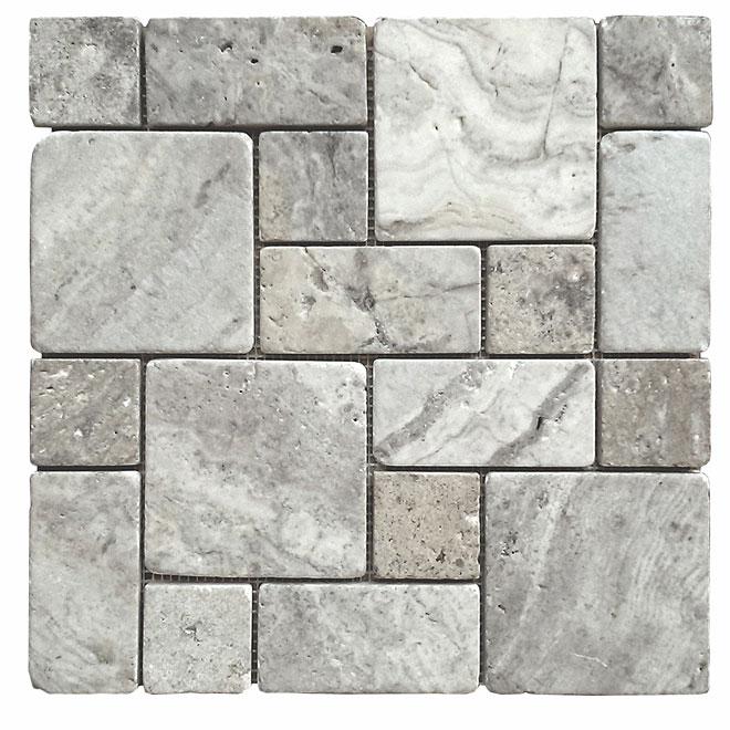 """Troy Tiles - Travertine Mosaic - Silver Roman - 12"""" x 12"""""""
