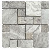 Troy Tiles - Travertine Mosaic - Silver Roman - 12