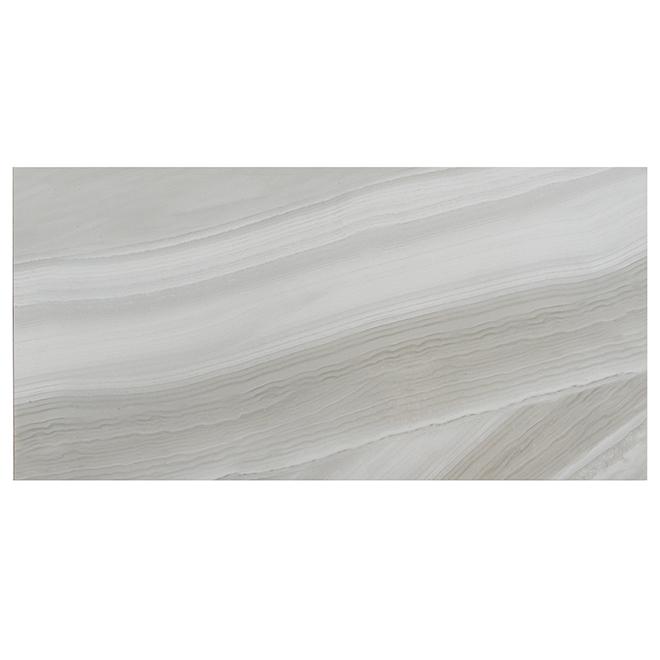 "Ocean Wave Porcelain Tiles - 12"" x 24"" - 8/Box - Light Grey"