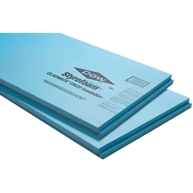 DOW CHEMICAL Rigid Insulation Panel, Cladmate, R12, 2,4