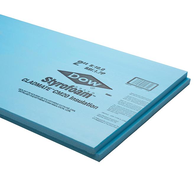 Styrofoam - Cladmate CM20 - 2 1/2'' x 2' x 8' - Blue