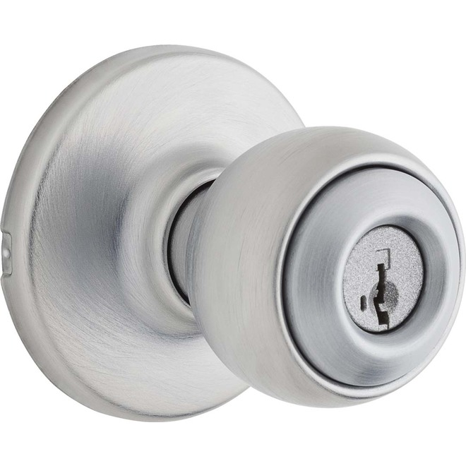 Bouton de porte Yuko de Weiser avec verrou à clé, chrome satiné, pêne ajustable, portes de 1 3/8 po à 1 3/4 po É.