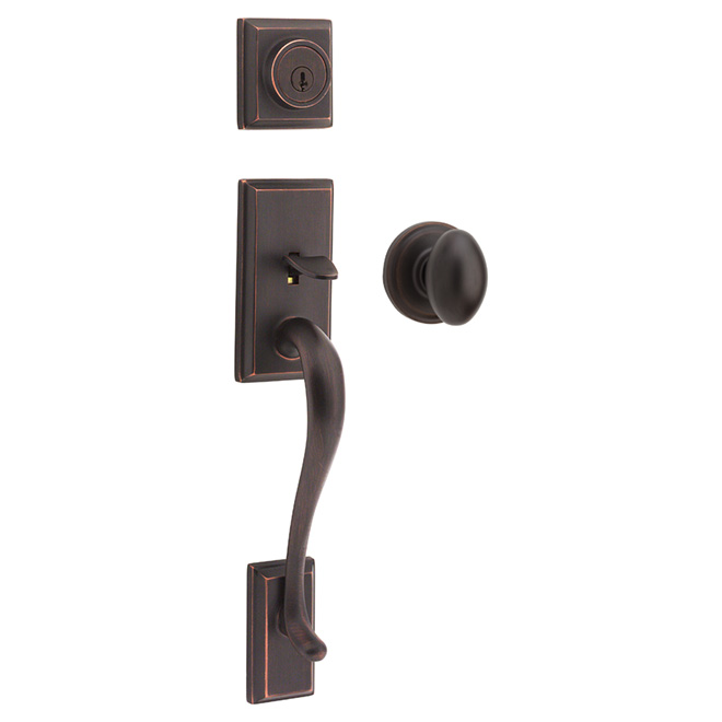 Weiser Hawthorne Entrance Gripset with Troy Knob - Venetian Bronze