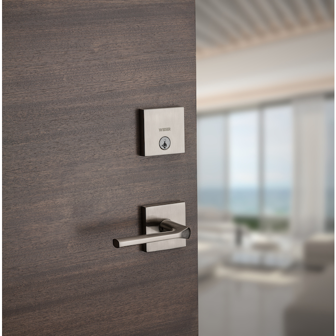 Weiser Single-Cylinder Deadbolt - Downtown - Square - Satin Nickel