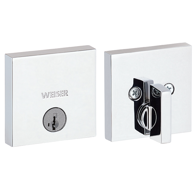 """Downtown"" Single Cylinder Deadbolt - Square - Chrome"