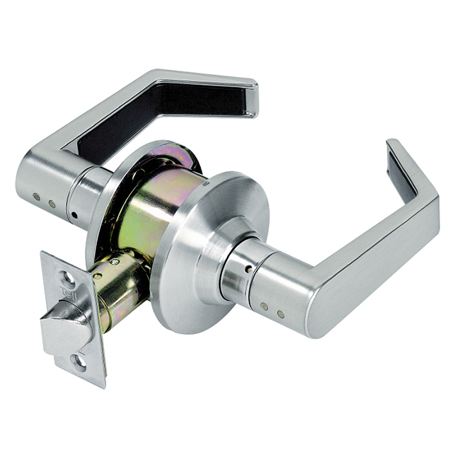 Hallway Door Lever - Adjustable Latch - Brushed Chrome