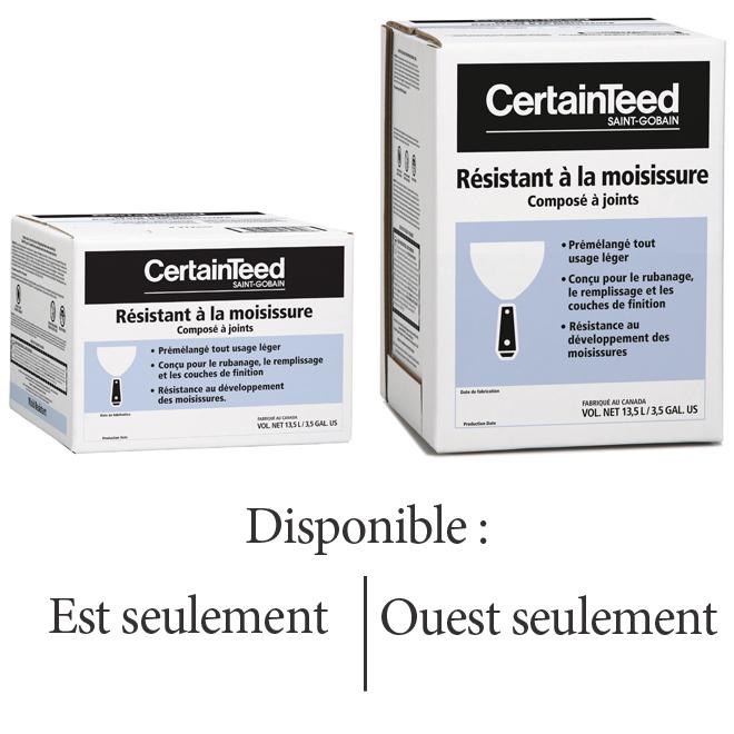 Composé à joints léger tout usage résistant à la moisissure de CertainTeed, 13,5 L, 500 pi2, prémélangé