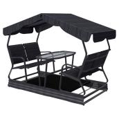 Veranda Jardin 4-Chair Garden Swing on Wheels - Glass Table