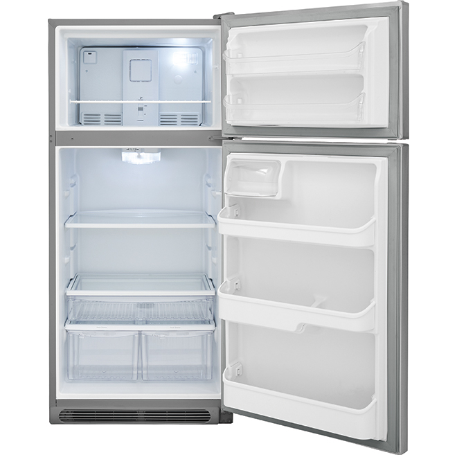 """Réfrigérateur à congélateur en haut, 30"""", 18 pi³, inox"""