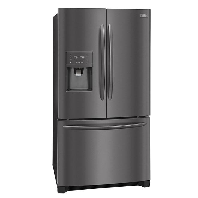 Réfrigérateur avec distributeur d'eau et glaçons, 27 pi³, inox noir
