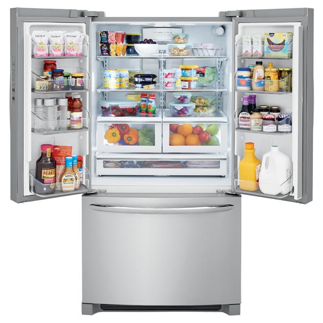 Réfrigérateur à portes françaises, 28 pi³, inox