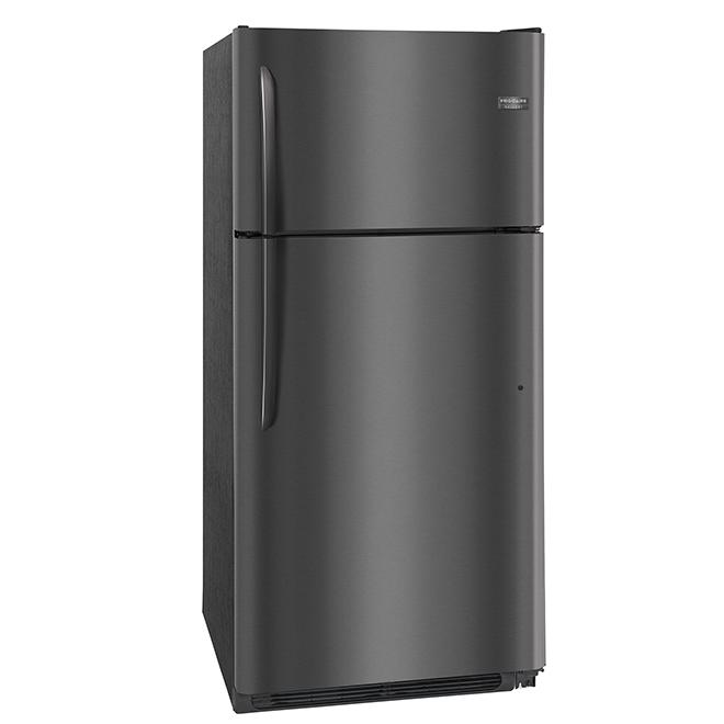 Réfrigérateur à congélateur supérieur,18 pi³, inox noir