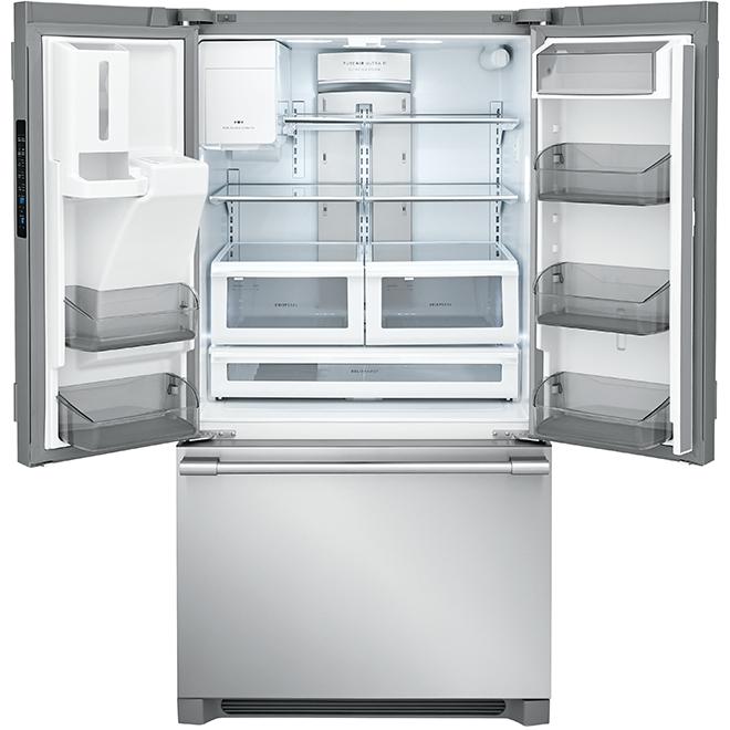 """Réfrigérateur à portes françaises, 36"""", 21,6 pi³, inox"""