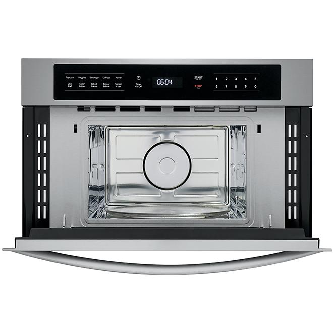 Micro-ondes, porte rabattable, 950W, 1,6pi³, acier inoxydable