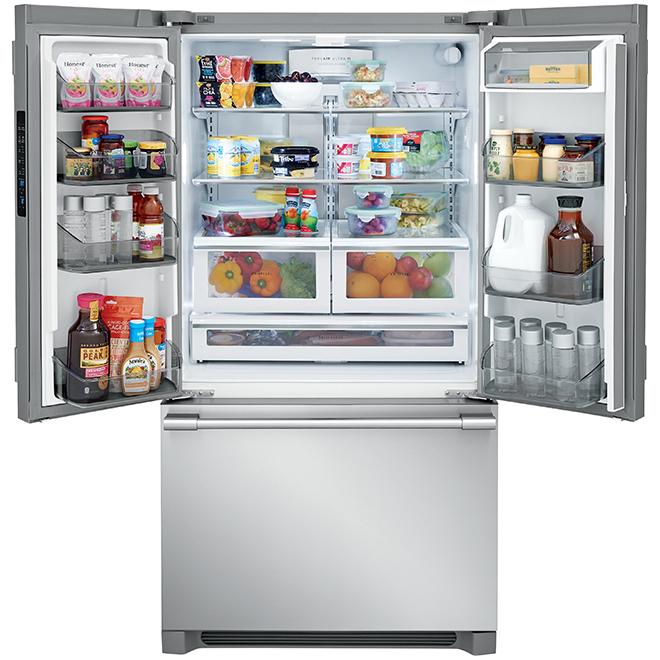 """Réfrigérateur à portes françaises, 36"""", 22,3 pi³, inox"""