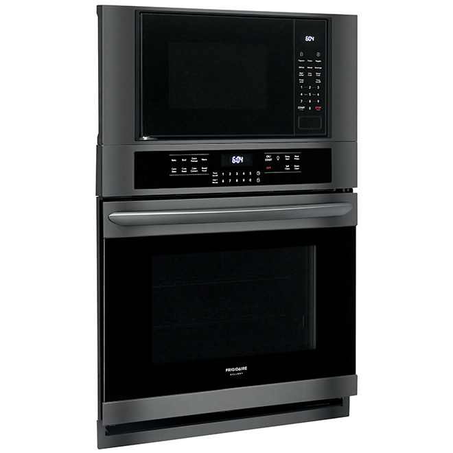 "Combination Wall Oven with Fits-More Microwave - 30"" - Black SS"