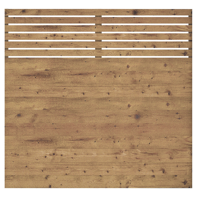 Fence Panel - 6' x 6' - Contemporary - Preserved Wood - Brown