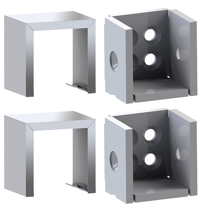 Set of Brackets for Straight Ramp - Silver